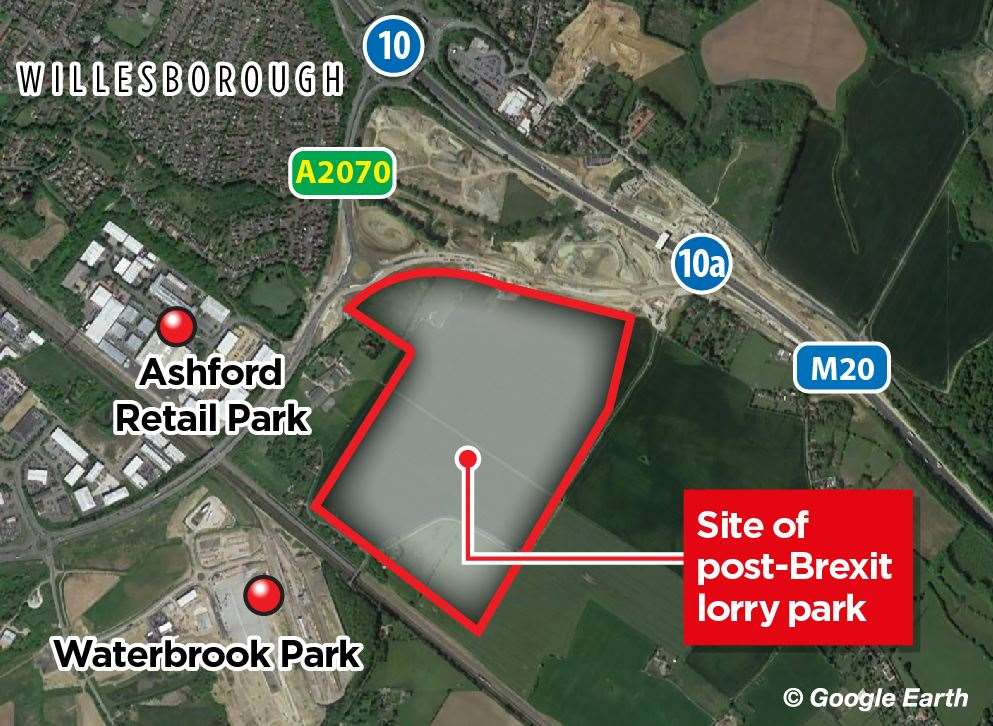 The lorry park has been built off the A2070 link road next to Junction 10a of the M20