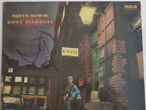 A rare, signed copy of David Bowie's Rise and Fall of Ziggy Stardust album