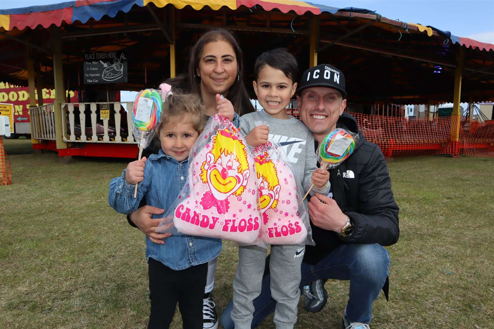 Everyone ended up with free candyfloss at Smith's funfair, Barton's Point, Sheerness. Here youngsters Elizabeth, 3, and Olly, 5, tuck into their treat with mum Elmaz Mehmet and dad Billy McPhail