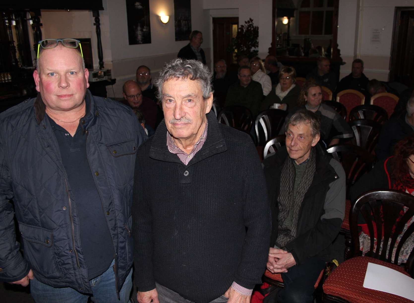 More than 30 joined David Wilcock, left, and Tim Bell at a meeting at the Royal Hotel to discuss plans for a new harbour for Sheerness