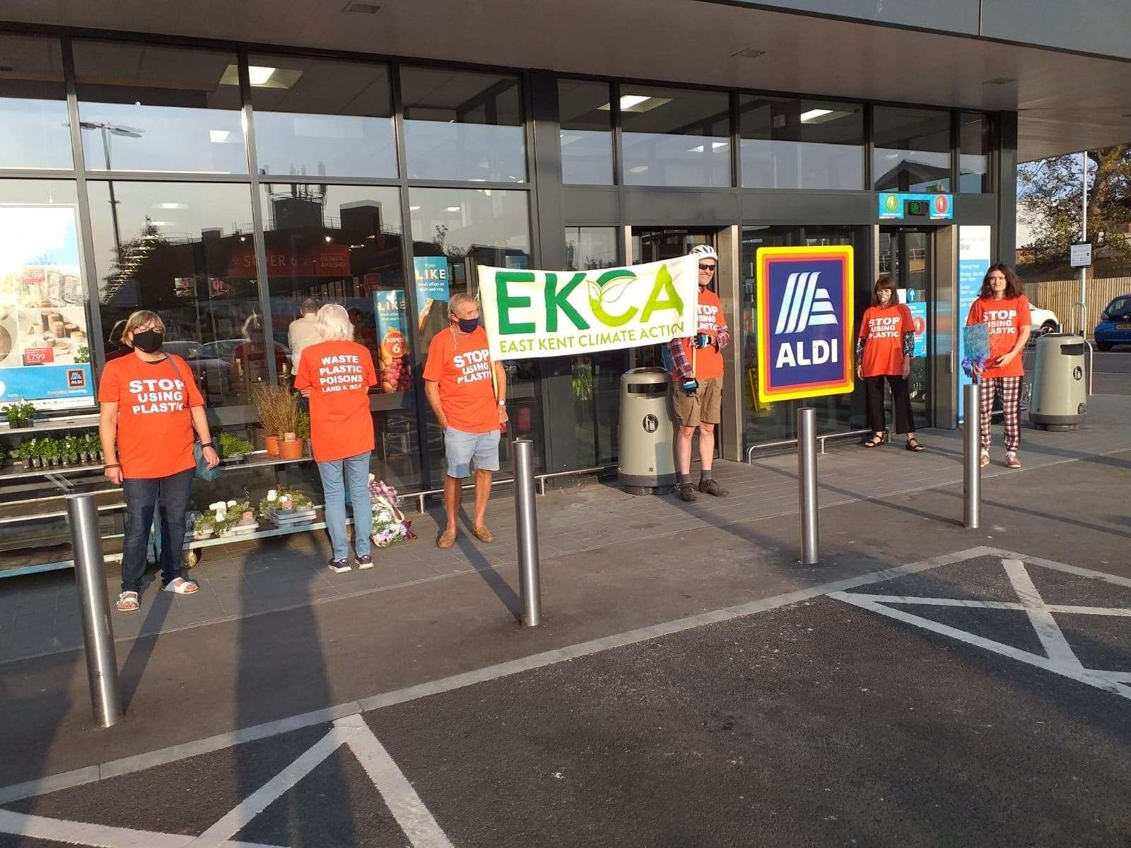 The group protested outside Aldi in West Street Picture: Helen O'Brien