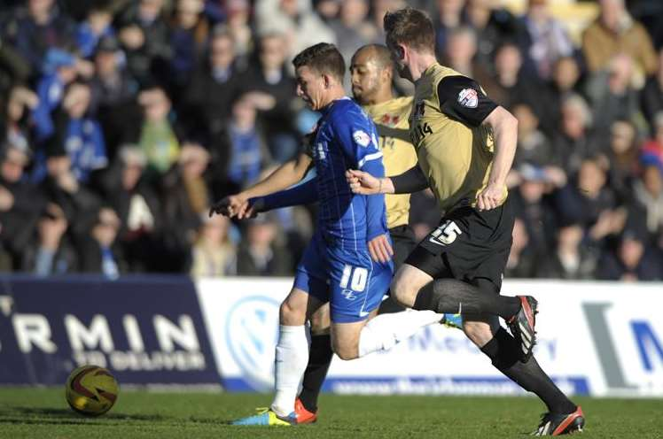 Gillingham forward Cody McDonald breaks through the Leyton Orient defencePicture: Barry Goodwin