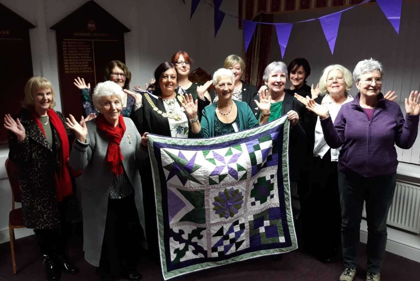 The Dover celebration of International Women's Day with a quilt as a raffle prize. Picture: Dover Town Council