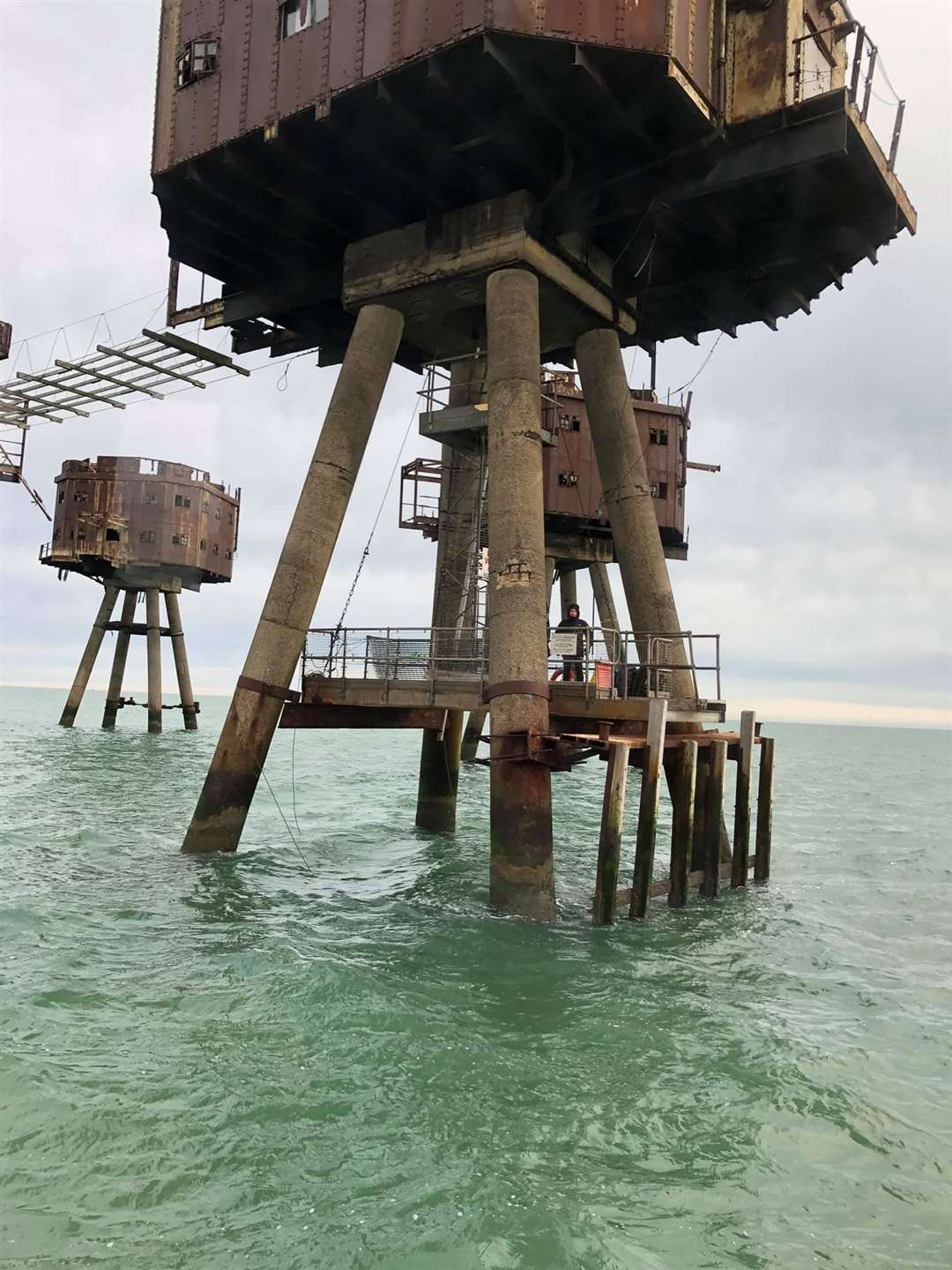 Three men rescued from this Maunsell Second World War sea fort off Whitstable by the Sheerness lifeboat. Picture: RNLI