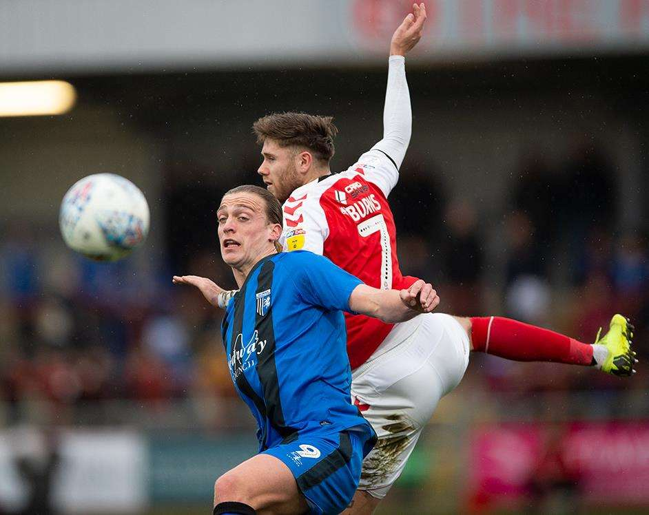 Tom Eaves in action for the Gills at Fleetwood Picture: Ady Kerry