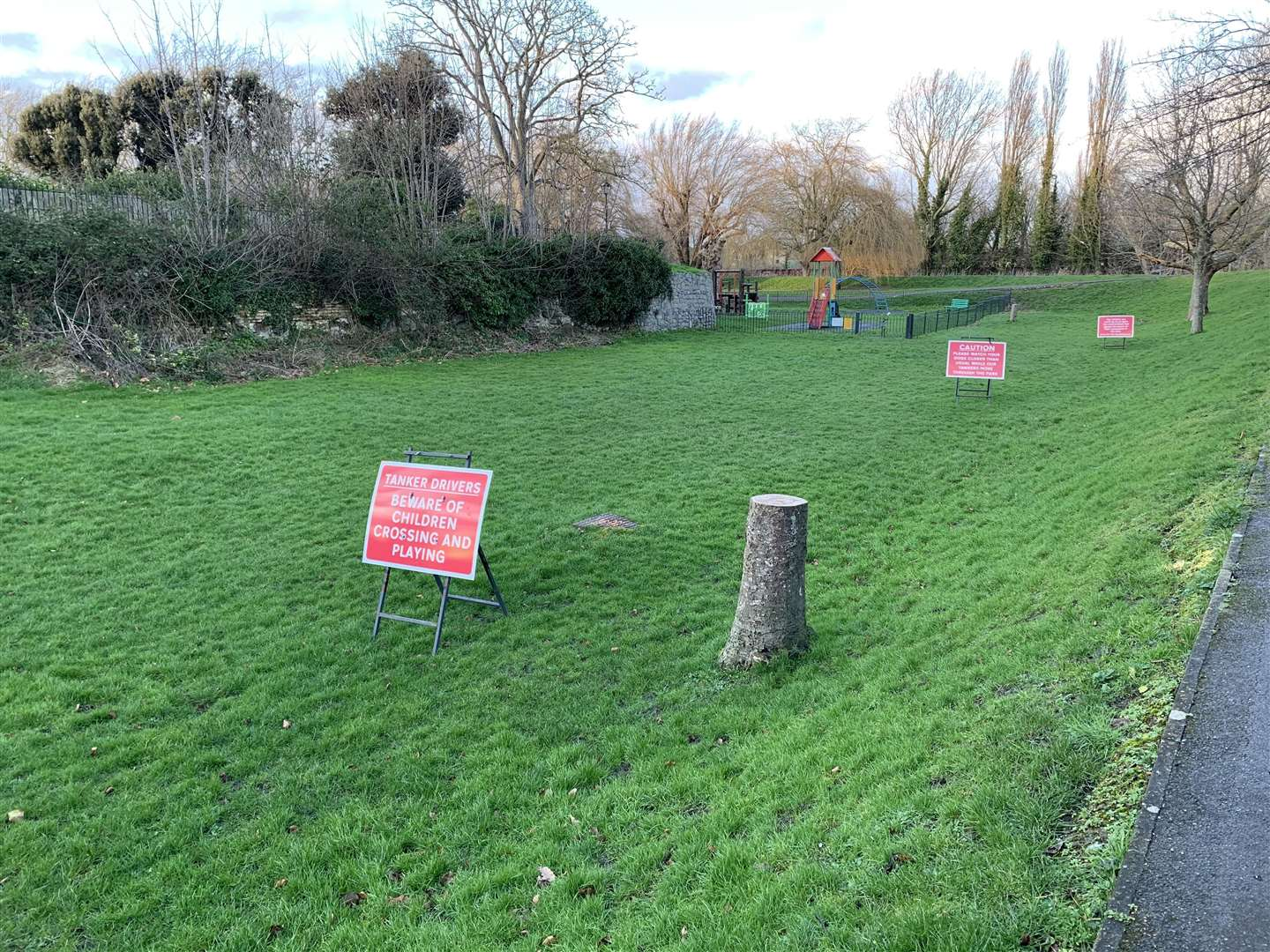 The grass area between the pumping station and play park where a medieval boat is understood to be buried