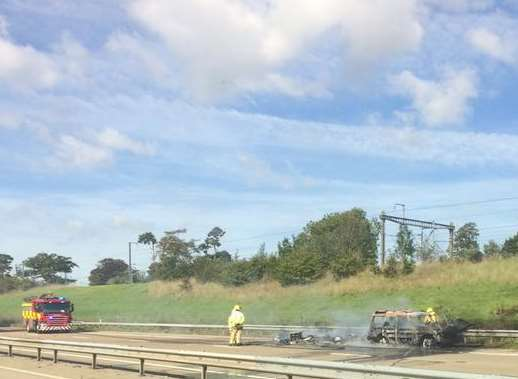 The wreck on the M20. Picture: Becki Jones