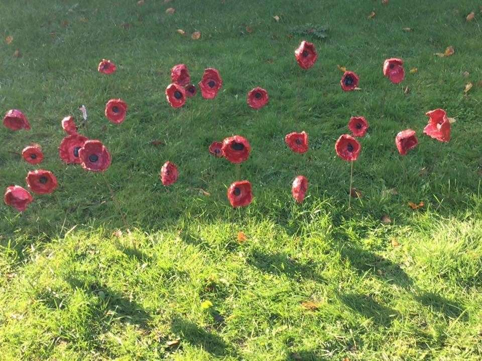 The poppies were handmade for Remembrance Sunday