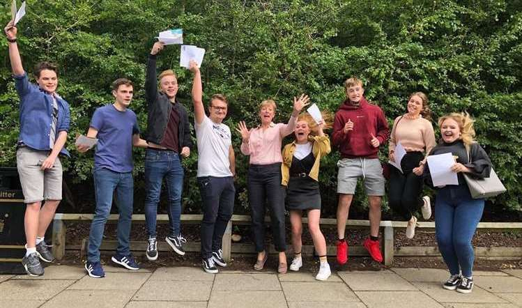 Pupils celebrate at Brockhill Park Performing Arts College in Hythe