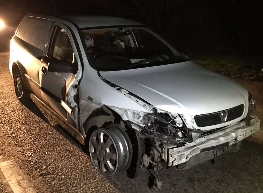 This damaged vehicle was driven down the M2 for miles. Picture: Kent Police Roads Unit