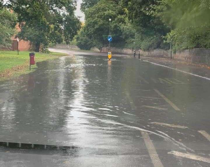 New Road in East Malling is flooded on both sides of the road. Picture: Lucy Johnson
