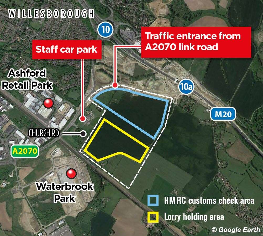 How Ashford's post-Brexit lorry park is set to look