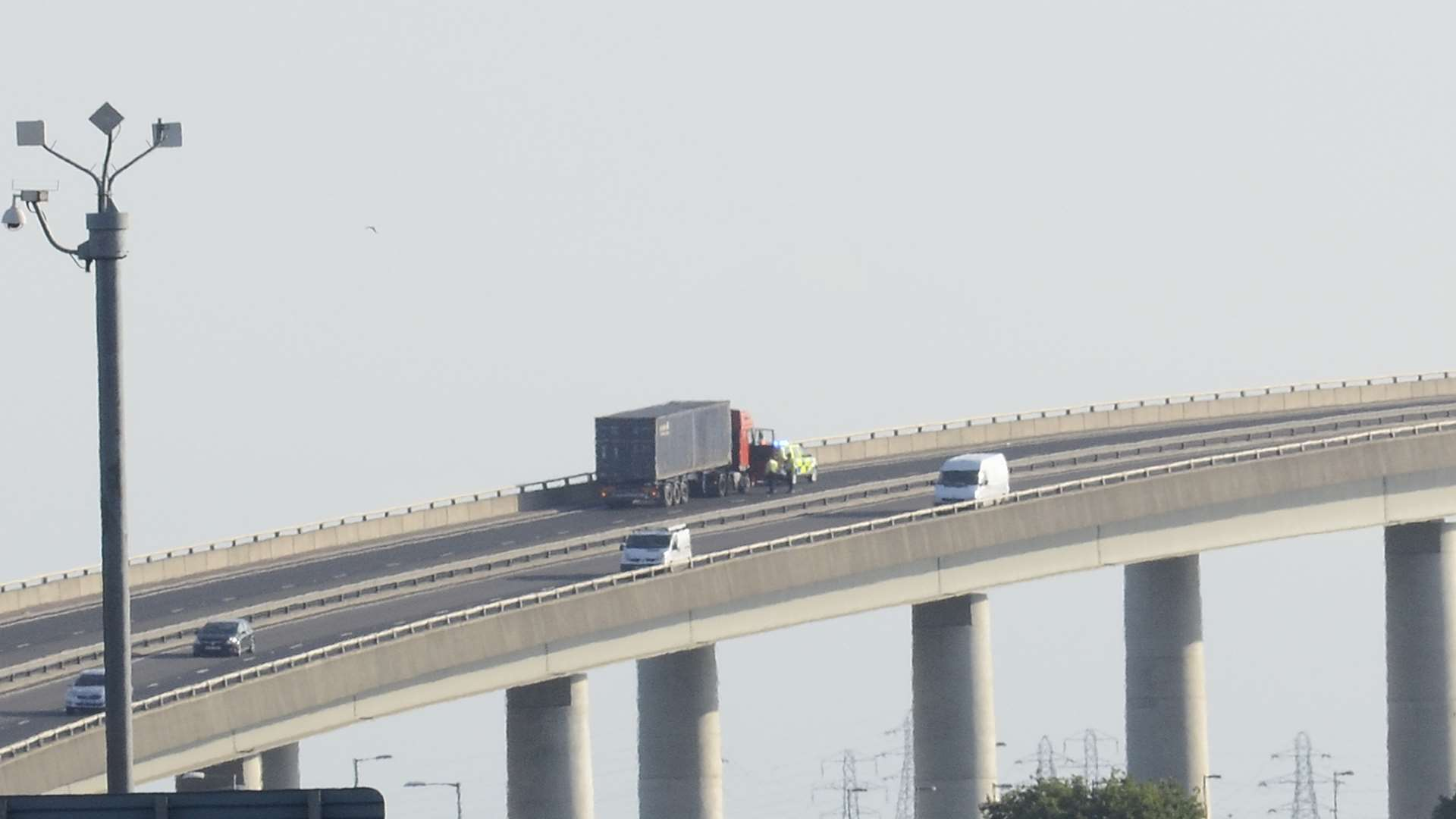 The Sheppey Crossing is closed this morning. Picture: Barry Hollis