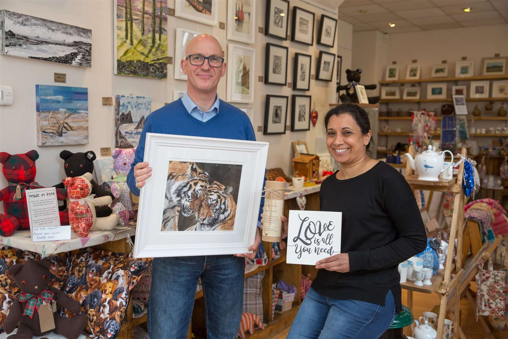 Darren Johnston and Sabby Kaur in the shop