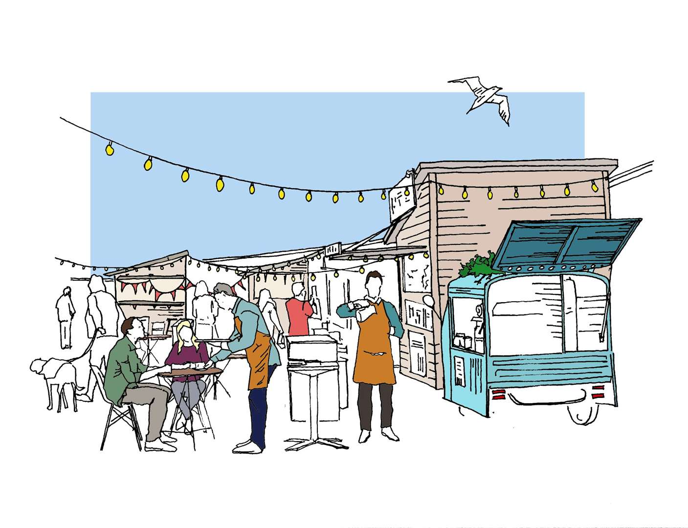 CGI of Folkestone Harbour Arm's The Goods Yard, an outdoor eating and drinking space. Picture: Folkestone Harbour Arm