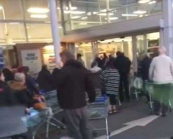 Queues out of the door at 6am this morning at Tesco in Gillingham (31892573)