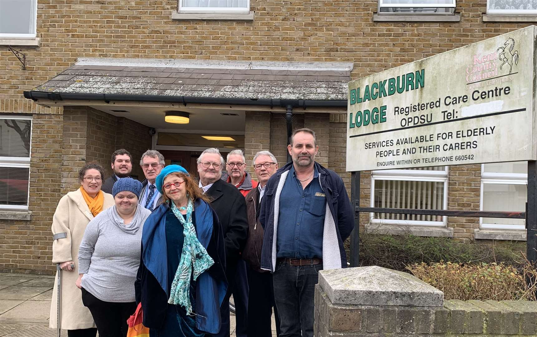 Members of the pressure group outside Blackburn Lodge in Broadway, Sheerness