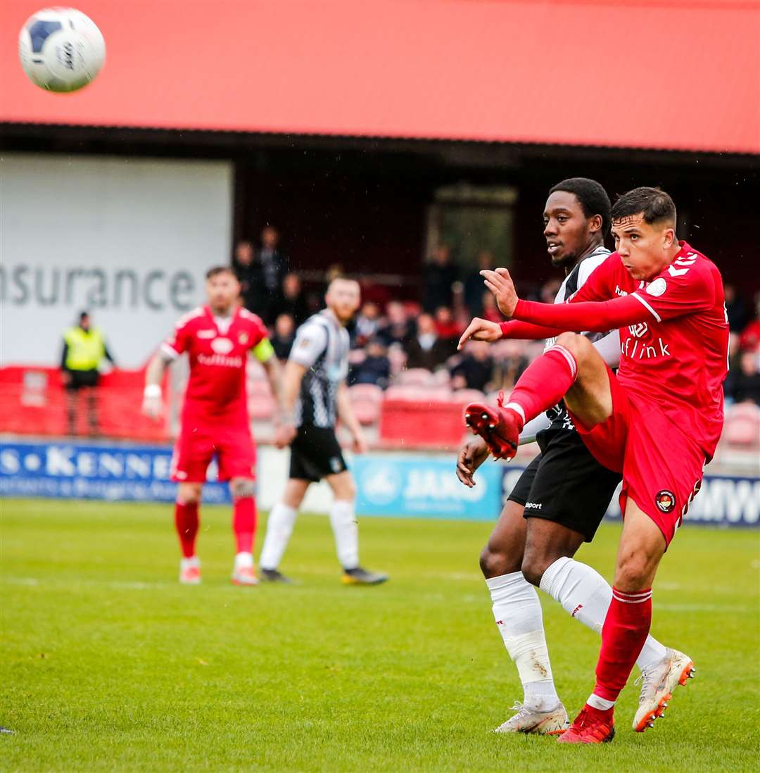 Albie Morgan - in action against Maidenhead - has extended his loan at Ebbsfleet from Charlton. Picture: Matthew Walker