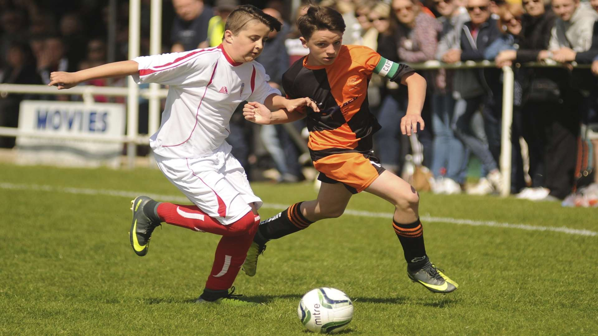 Cuxton 91 (white) and Pegasus 81 battle it out in the Under-13 John Leeds Trophy final Picture: Steve Crispe