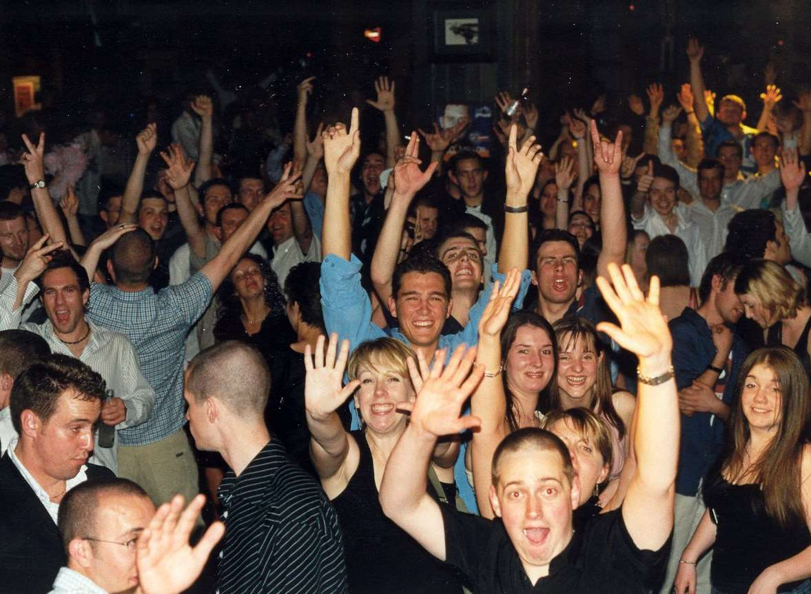 Clubbers greet actor Will Mellor at Jumpin Jaks in 2003