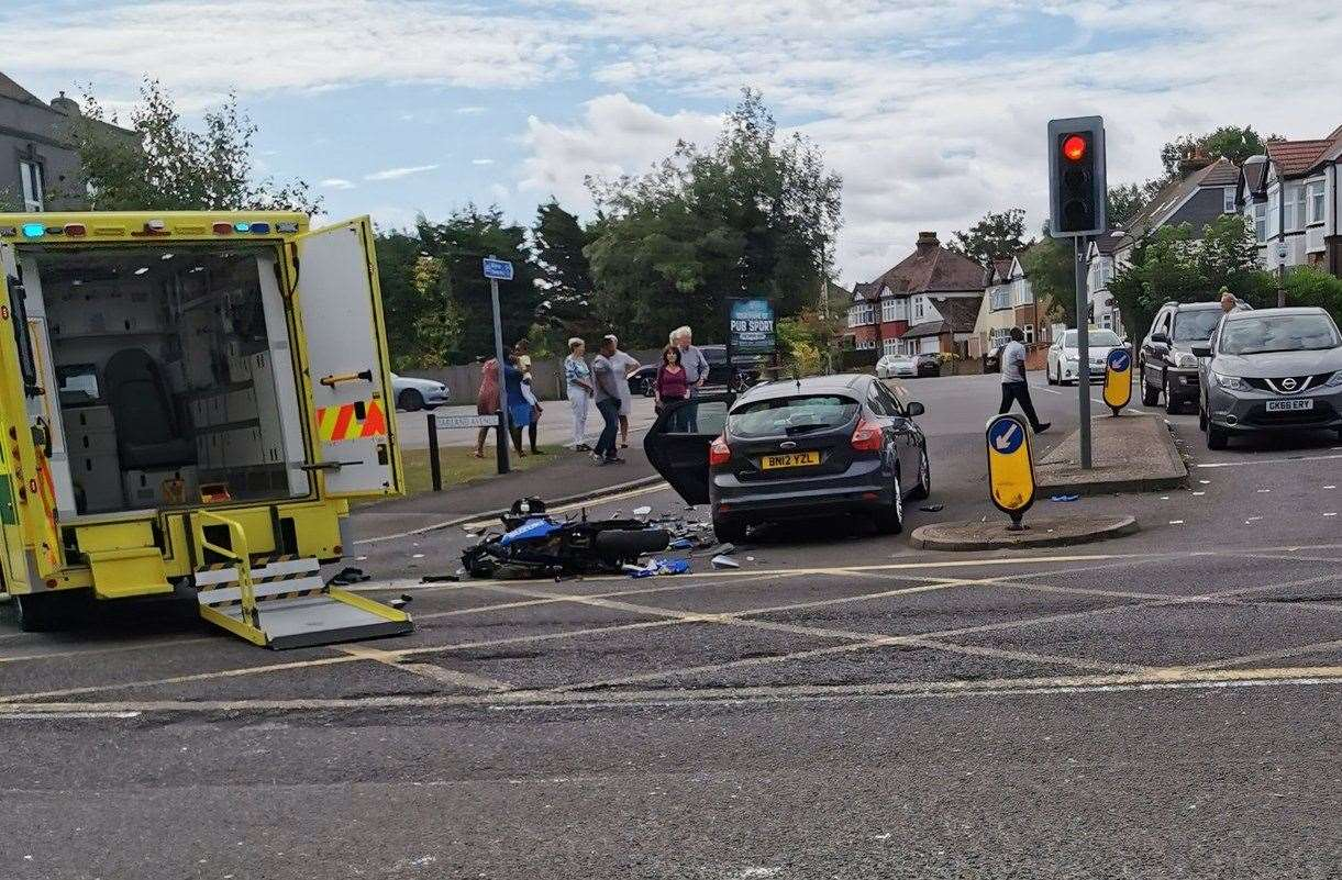 Paramedics attend a motorbike crash in London Road, Gillingham. Pic: @mrbio1984