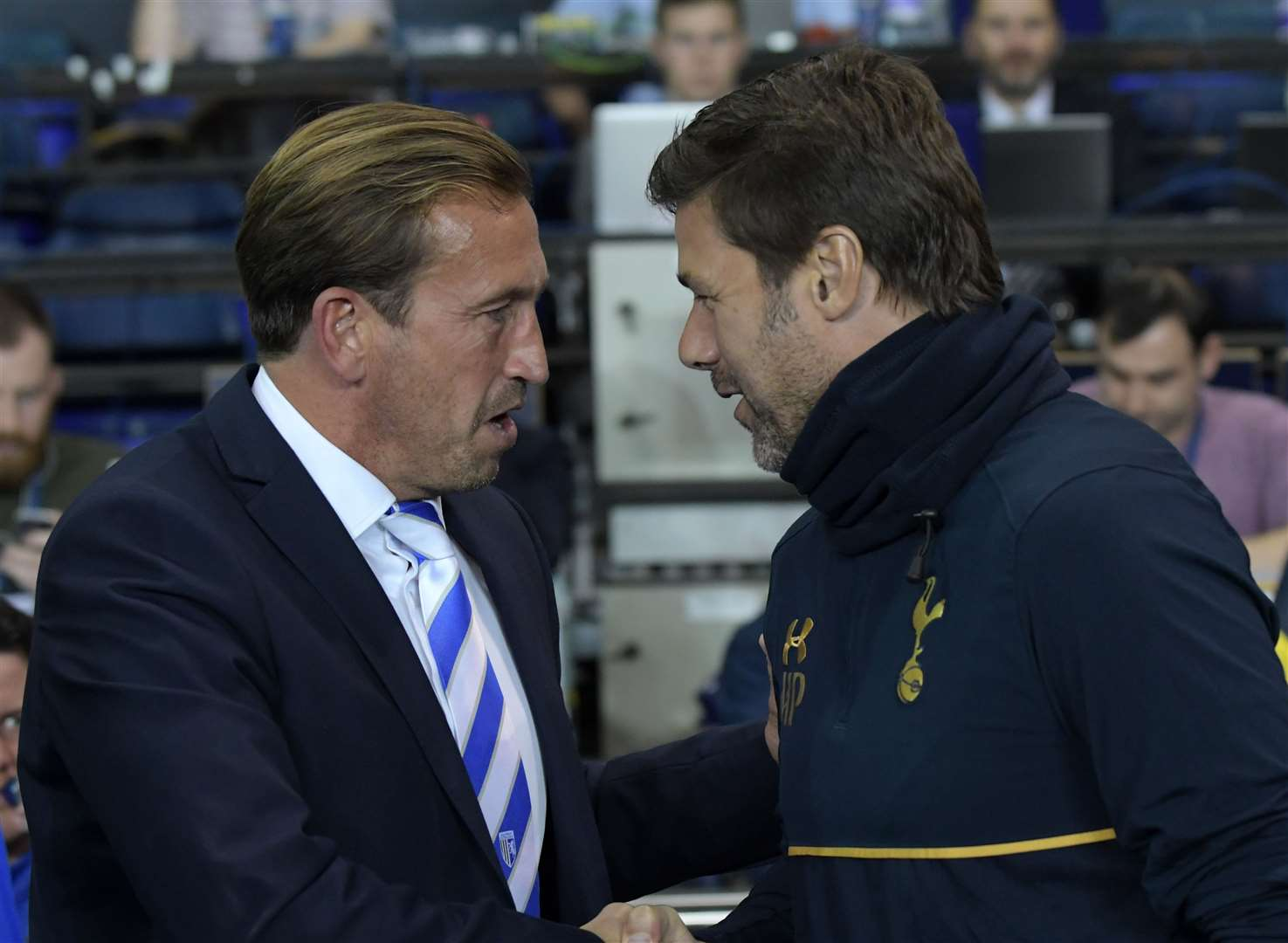 Justin Edinburgh shakes hands with Spurs manager Mauricio Pochettino back in 2016 when the Gills took on Tottenham Hotspur in the EFL Cup at White Hart Lane Picture: Barry Goodwin