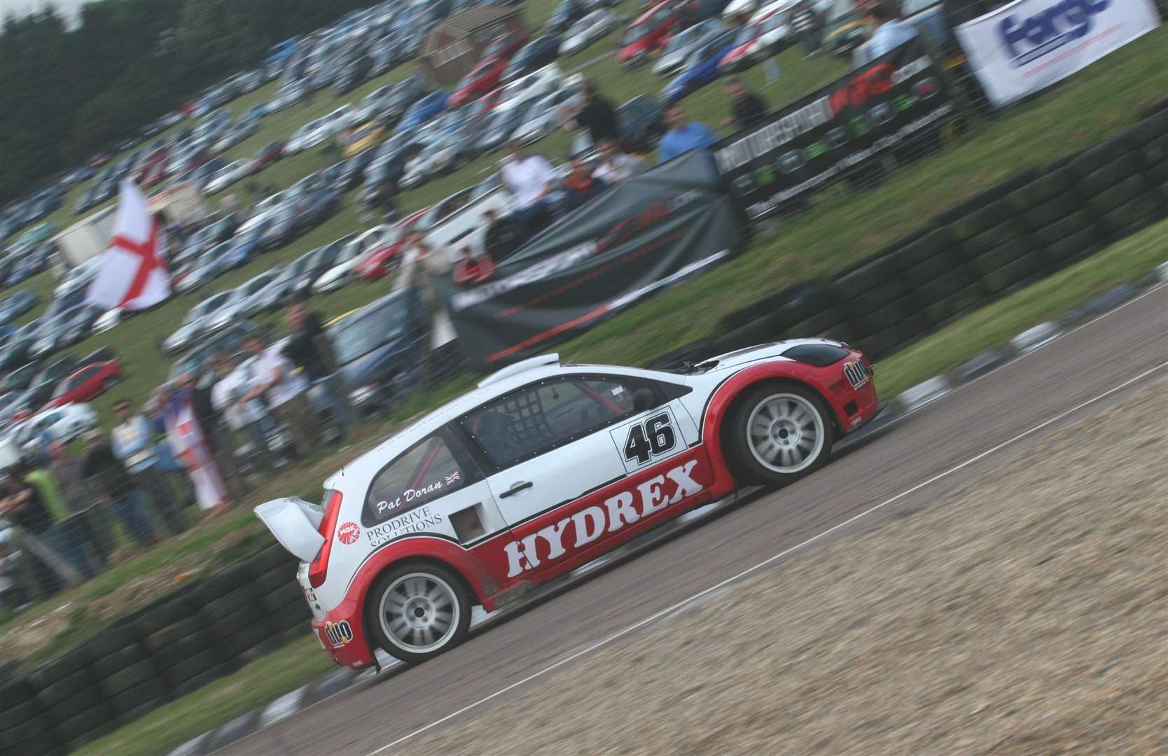 Pat Doran races his Ford Fiesta past part of the enormous crowd at Lydden on August Bank Holiday Monday in 2008. Picture: Kerry Dunlop