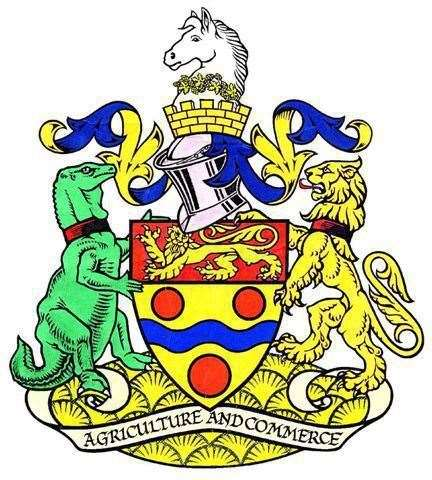 Iggy is on the left of Maidstone's Coat of Arms
