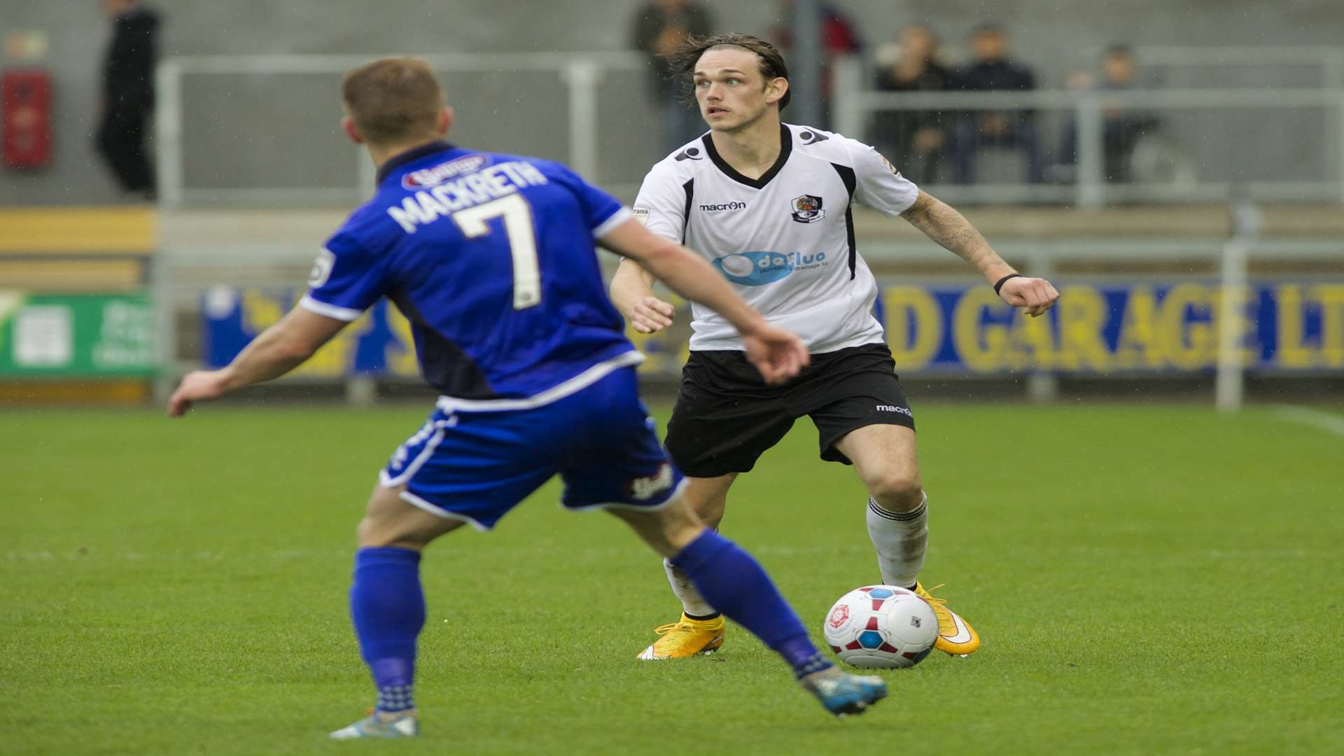 Tom Bender on the ball for Dartford against Grimsby Picture: Andy Payton