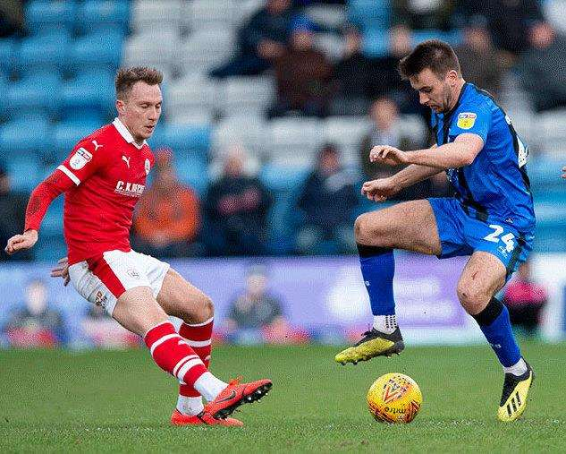 Josh Rees on the ball for Gillingham Picture: Ady Kerry