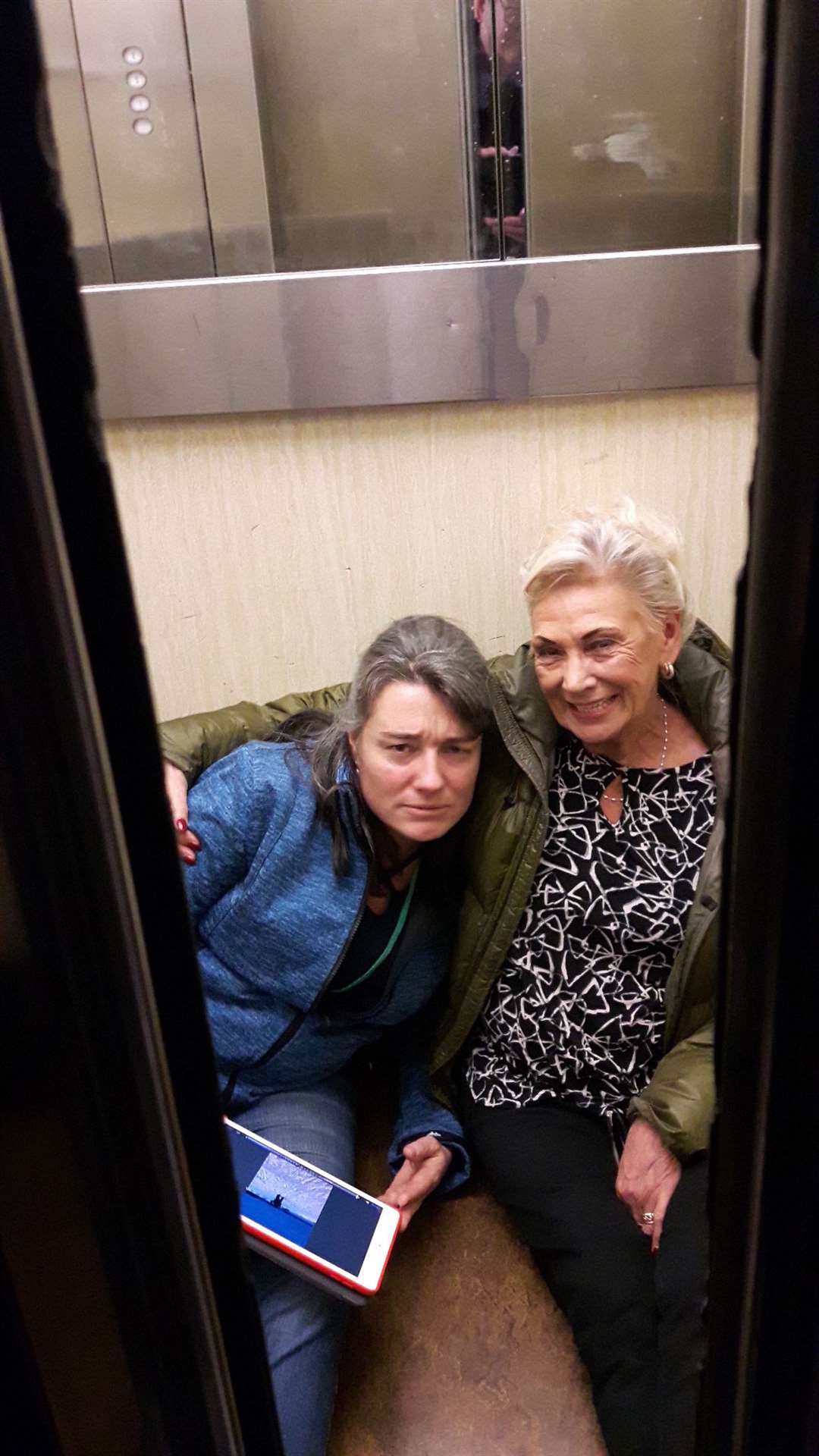 Cllrs Monique Bonney, left, and June Garrad had to be rescued by firemen after becoming trapped in a lift at Swale House after a full council meeting