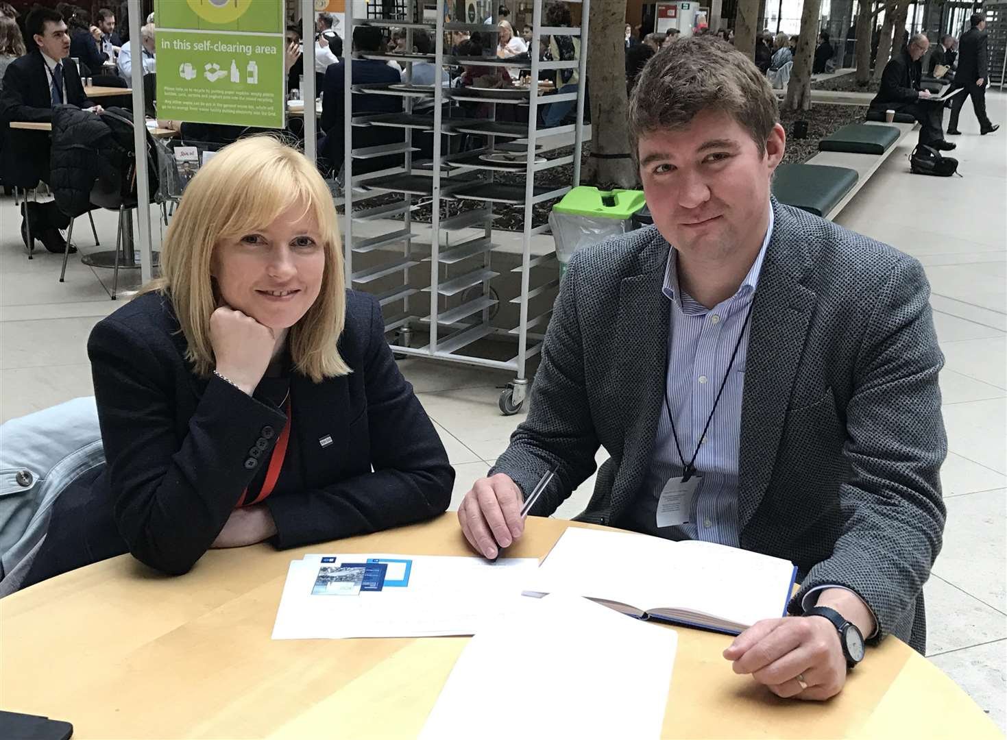 MP Rosie Duffield with Southeastern manager Chris Vinson, at Portcullis House, Westminster (1910752)
