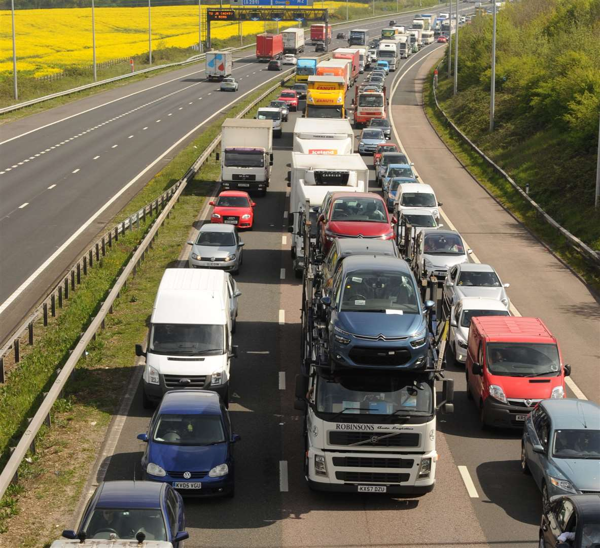 The roadworks caused severe delays at the weekend