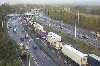 Delays on the A249 at Detling this morning. Picture: Kent Highways (18824155)