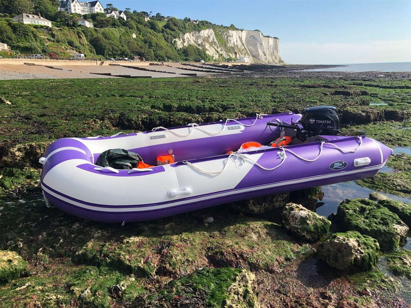 This abandoned dinghy was found on Friday morning at St Margaret's Bay
