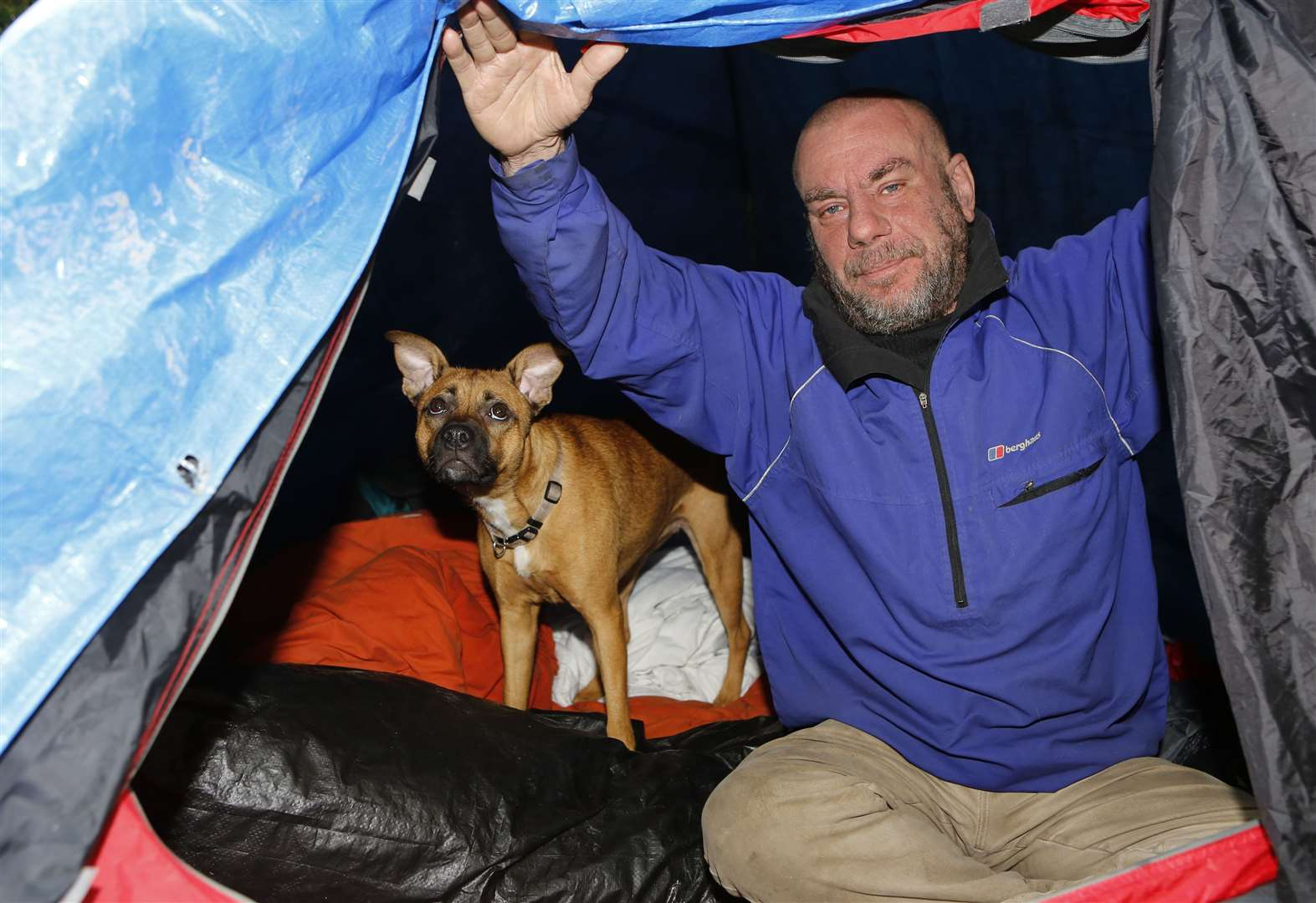 Pictured is Paul Wallis who has been evicted from his home and is now living in a tent in the front garden..Telford House, off Boxley Road, Maidstone, ME14 2UW.Picture: Andy Jones. (10034012)