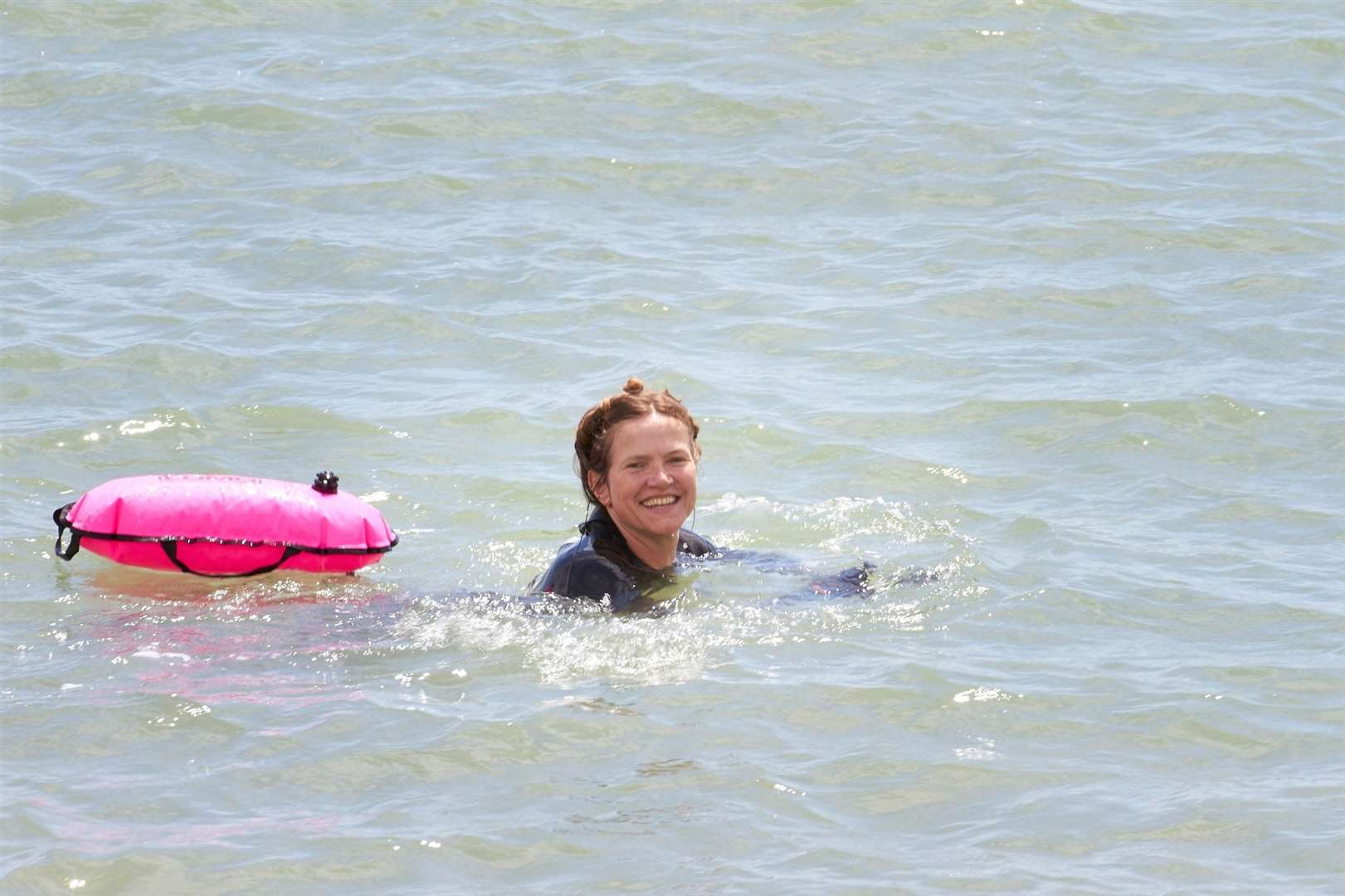 Actress Jessica Hynes swam from Hythe to Folkestone. Picture: Manuel Vason