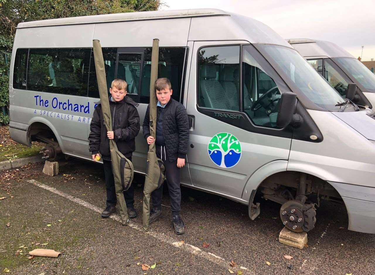 Orchard School pupils found their minibus had been left on breeze blocks
