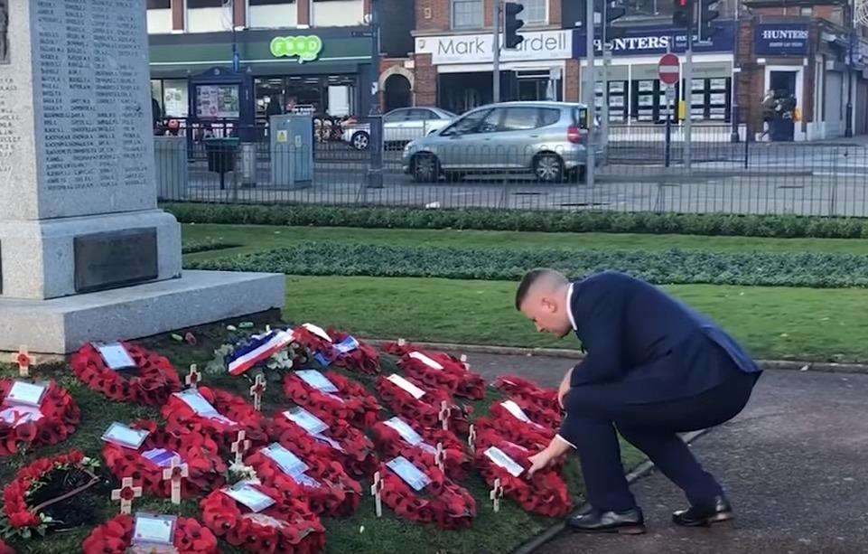 Britain First leader Paul Golding laying a wreath at the Dartford war memorial