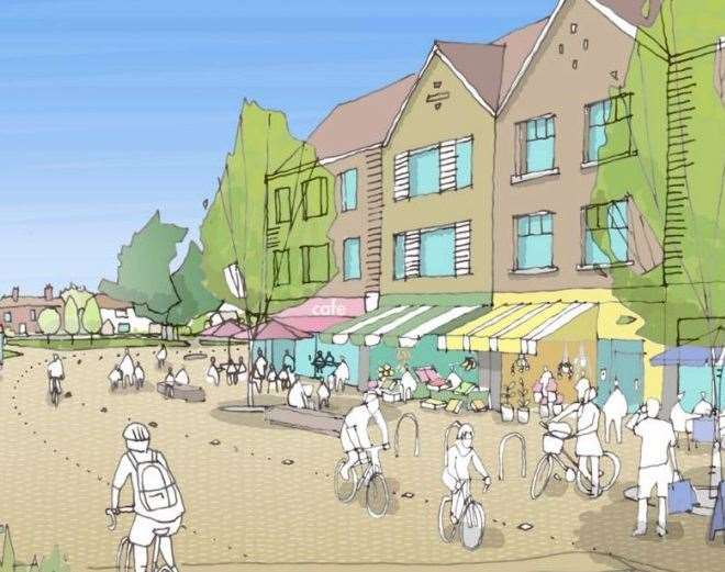 An artist's impressions of the proposed Heathlands garden community near Lenham Picture: Maidstone Borough Council/Barton Willmore