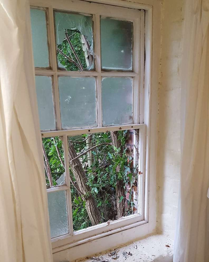 The 200 year-old window that was damaged in a break-in at Crabble Corn Mill