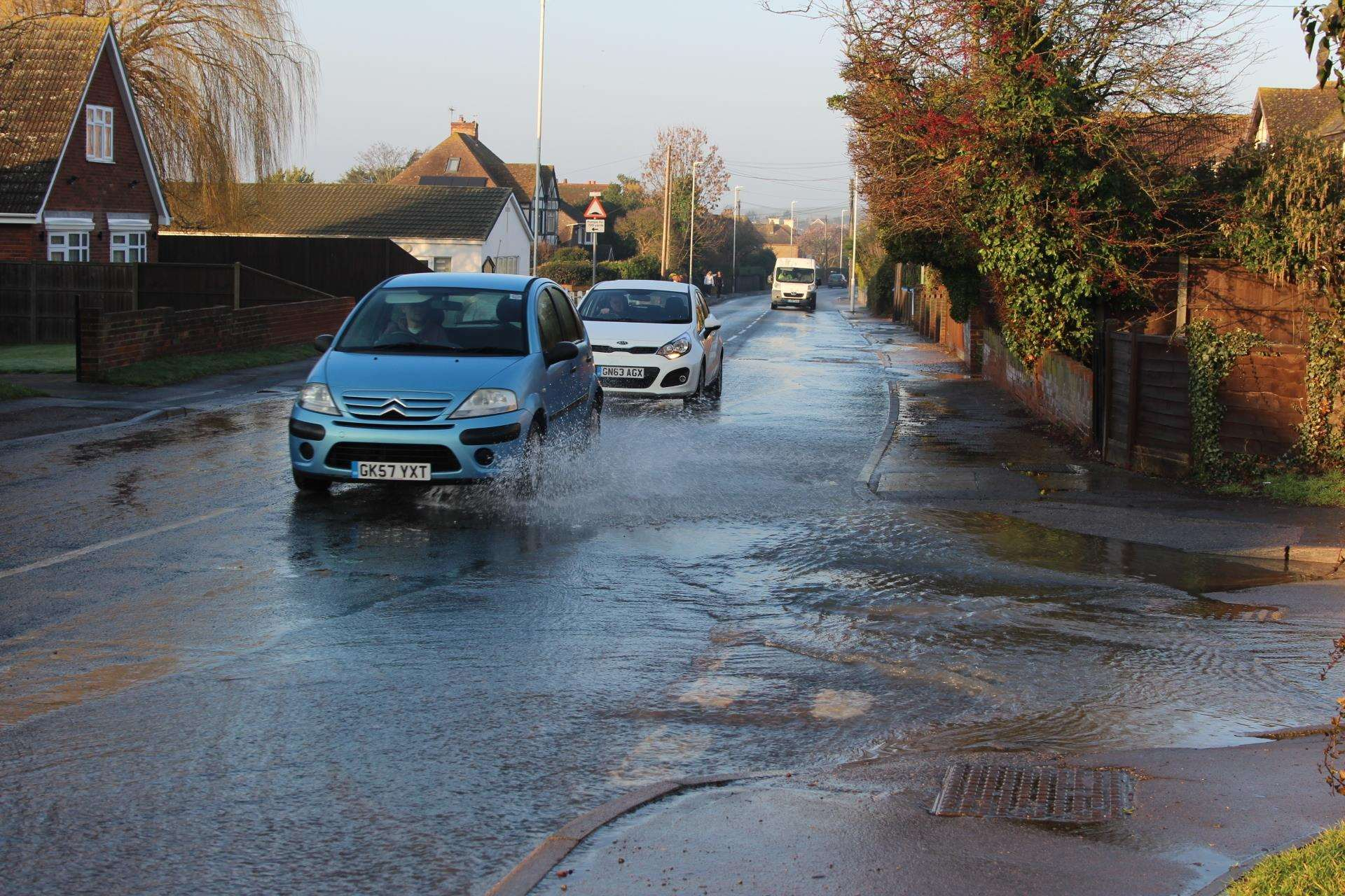 Burst water mains flooded roads in Minster, Sheppey, this morning (7388706)