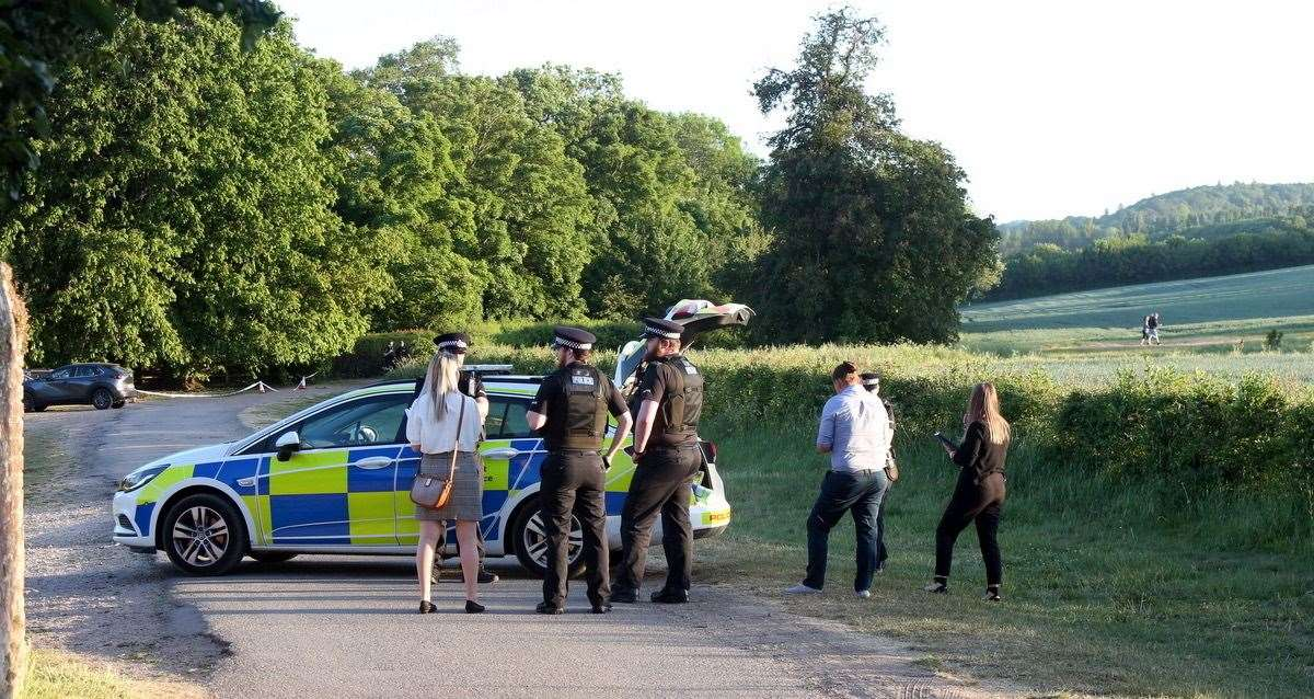 Police at the scene near Lullingstone Castle. Picture: UKnip