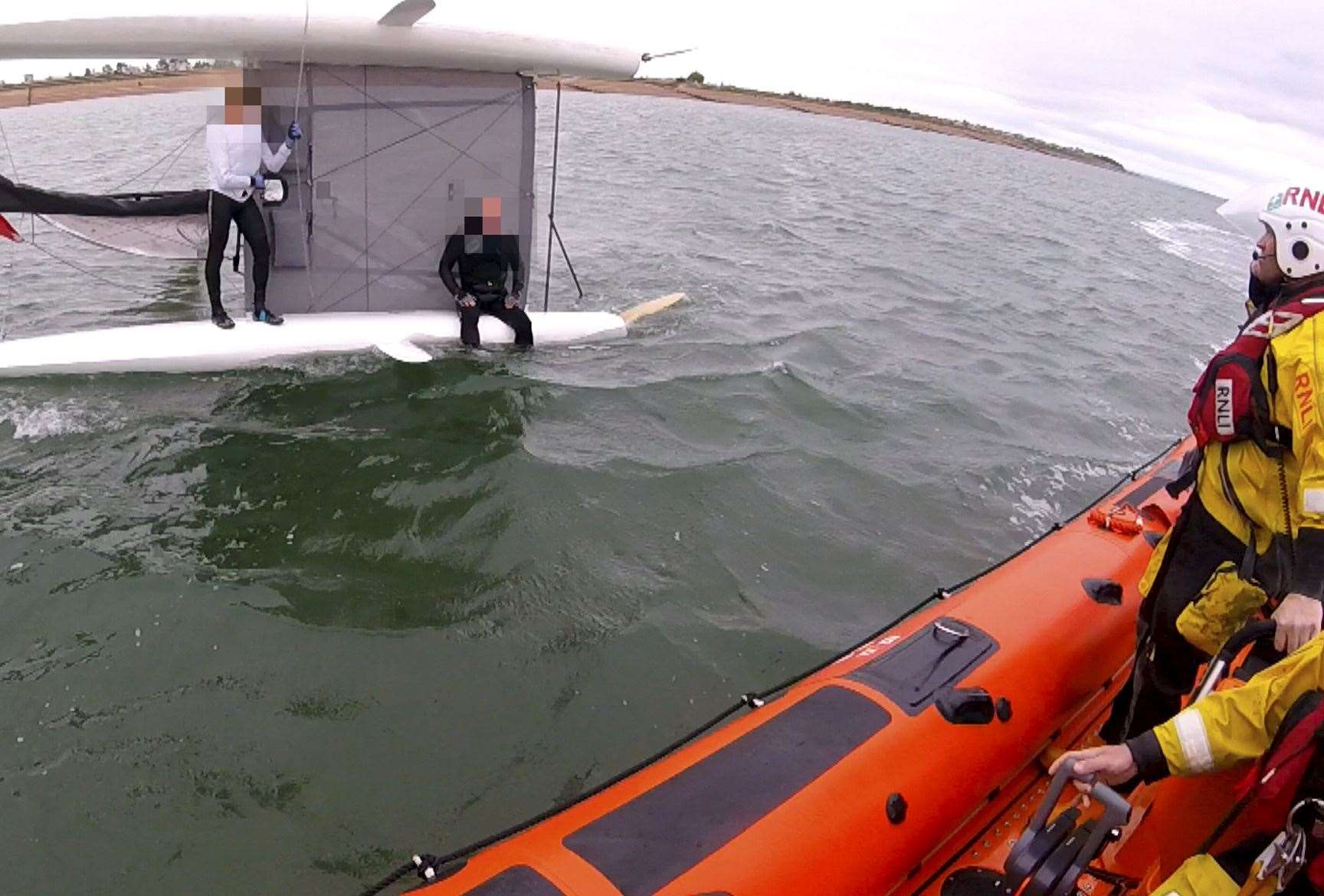 The capsized catamaran. Picture: RNLI Whitstable