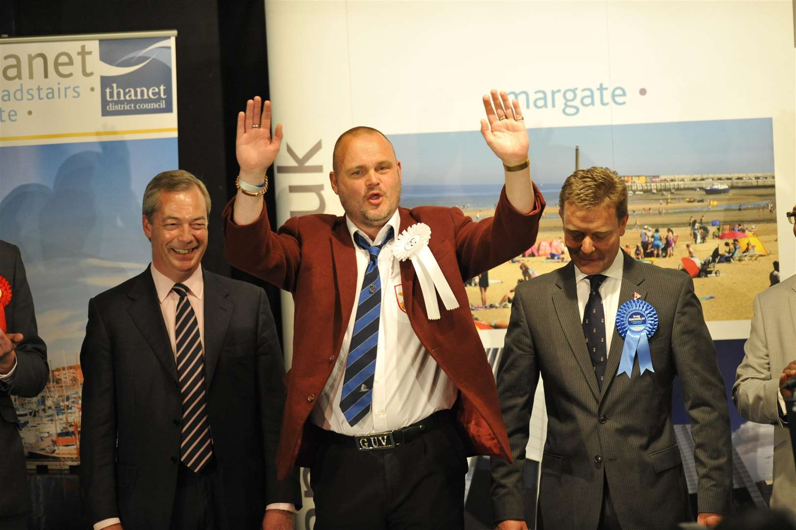 Craig Mackinlay, right, at the count for the 2015 general election when he beat comedian Al Murray, centre, and former Ukip leader Nigel Farage to the South Thanet seat