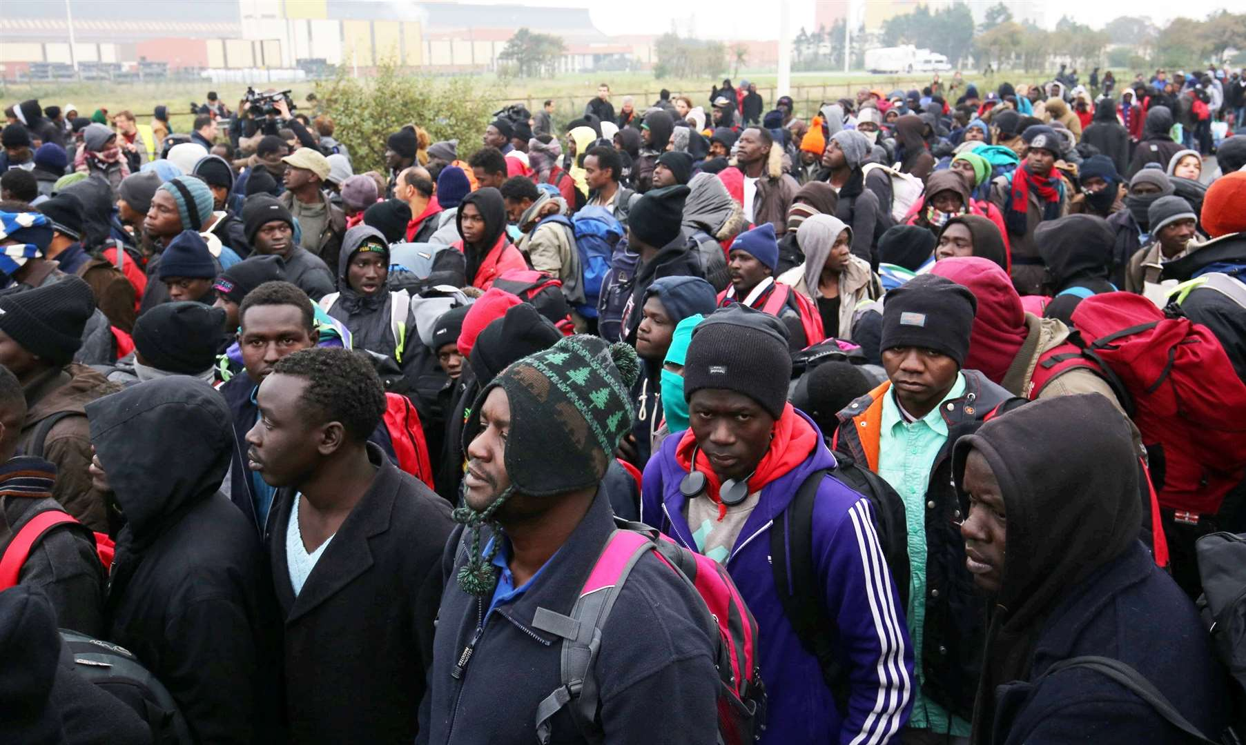 Migrants in Calais at the time of the closure of the Jungle, 2016. Picture copyright SWNS (South West News Service).