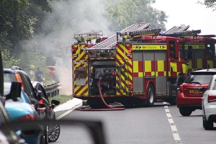 Car on fire at Detling Hill. Picture: Michael Donnelly