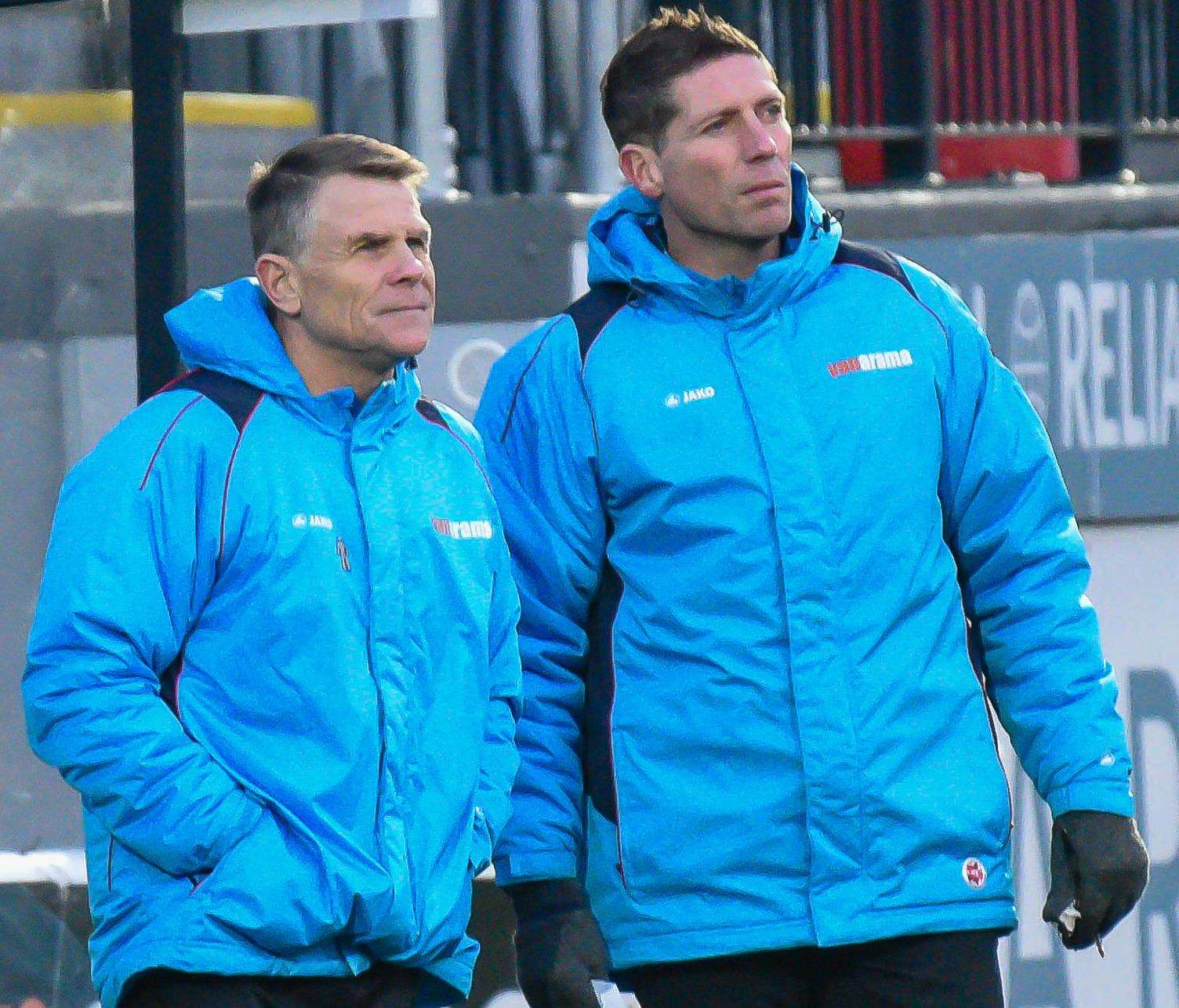 Andy Hessenthaler and coach Nicky Southall look on against Gateshead Picture: Alan Langley