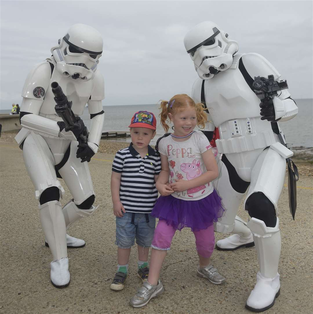 Rhys and Sally-Anne Strange pose with Stormtroopers last year Picture: Tony Flashman