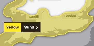 A yellow warning for strong winds has been issued from 4am to 9pm on Saturday.